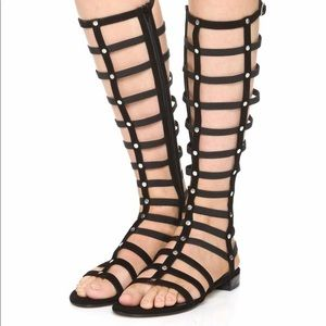 Stuart Weitzman Black Nappa Gladiator Sandal Size9